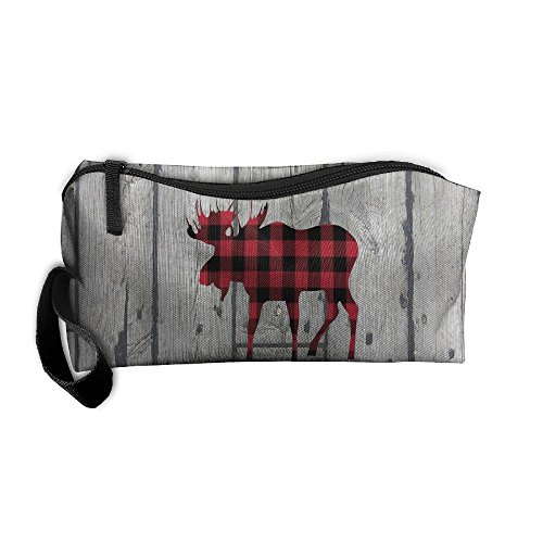 Buffalo Plaid Moose Lumberjack Red Black Handy Storage Pouch Travel Makeup Bag Oxford Cloth Kit Organizer For Sewing Medicine Comestic Fashion Pencil Pen Case
