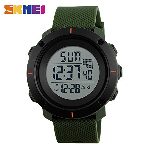 YCDC Army Green Men Big Dial Sports Watches Multifunction Chronograph 50M Water Resistant Alarm Clock Date Digital Wristwatches 1213