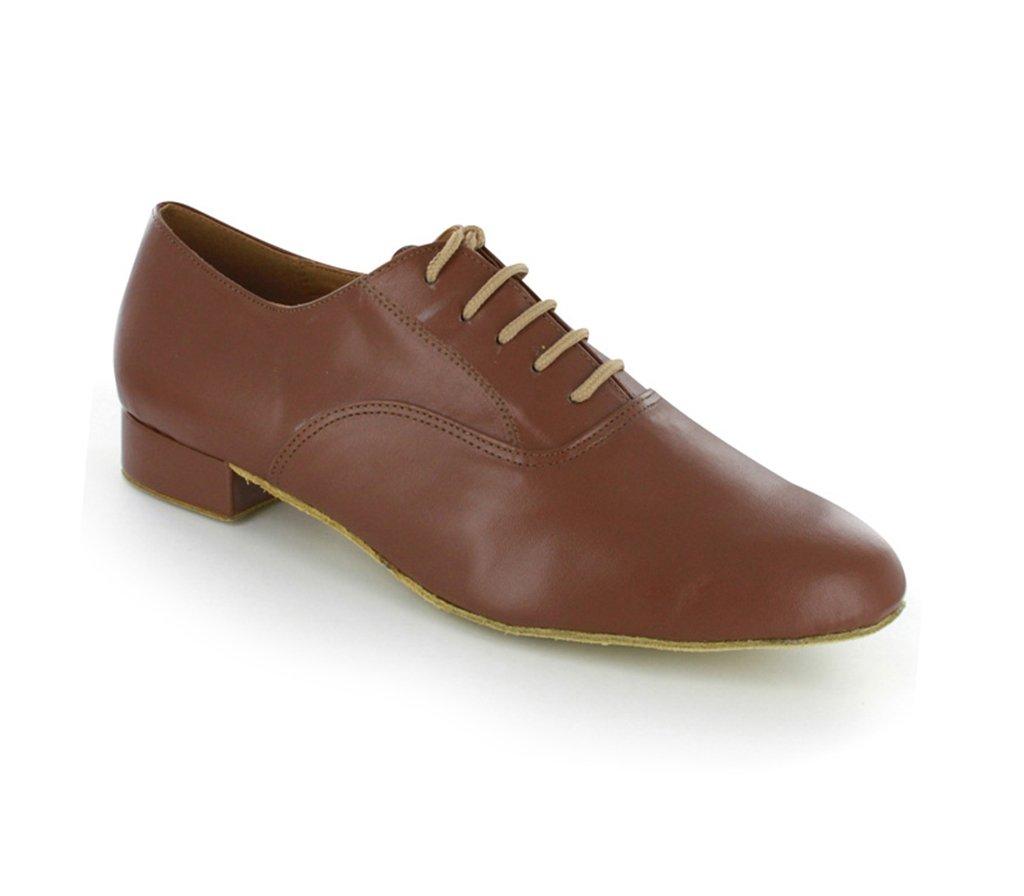 TDA Men's JF250509 Comfort Standard Brown Leather Ballroom Latin Dance Shoes 10 M US