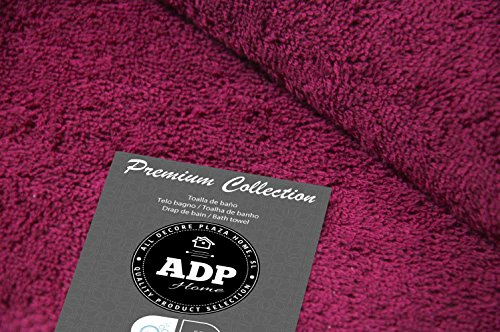 ADP Home - Juego de Toallas 550 Grms 3 Piezas (Toalla Sábana/Baño, Lavabo/Mano, Tocador) 100% Algodón Peinado - Color: Vino: Amazon.es: Hogar