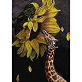 Plant Full Square Drill 5D DIY Diamond Cute Giraffe Yellow Sunflower Seeds Embroidery Cross Stitch Picture Mosaic Wall Art Handmade Gift Painting Home Decor