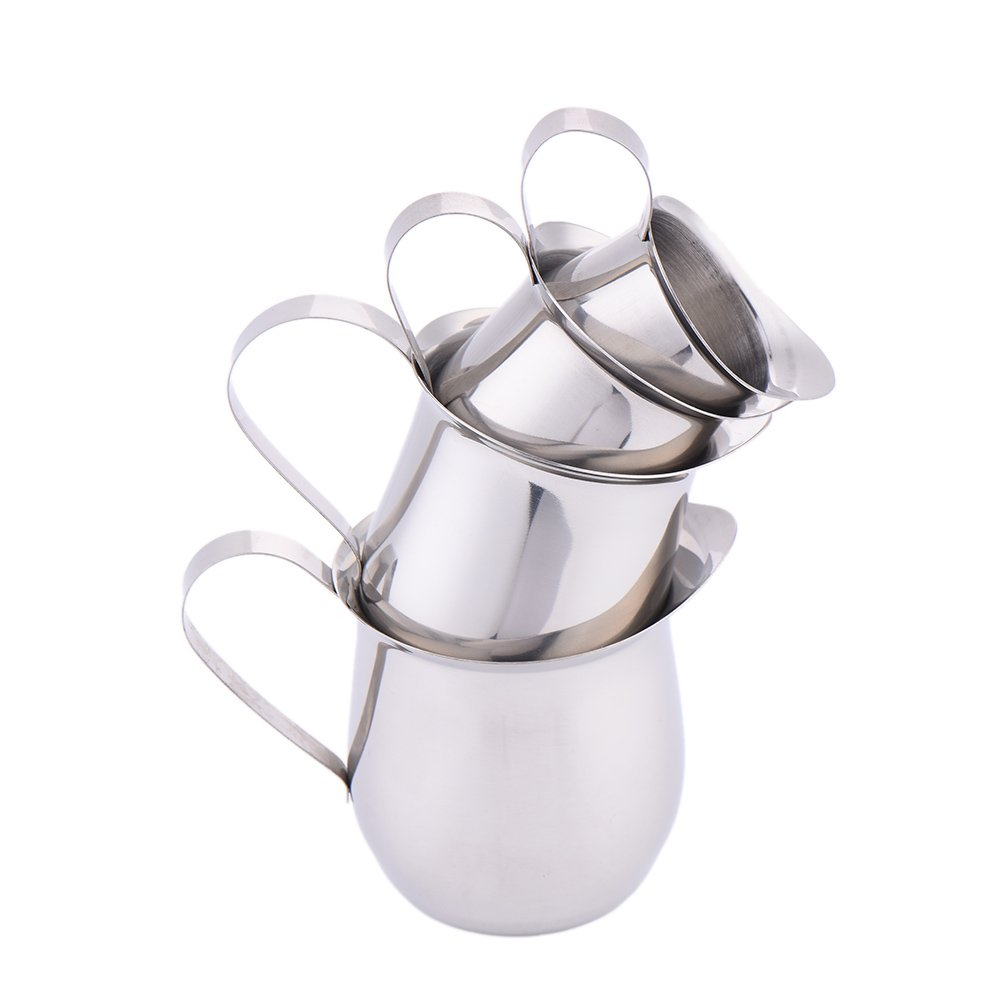 (D-8oz/240ml) - Cute Stainless Steel 8oz/240ml Espresso Coffee Milk Frothing Cup Jug Jar Cappuccino Latte Art Tool Drum Shape D-8oz/240ml  B06XSZRY9Q