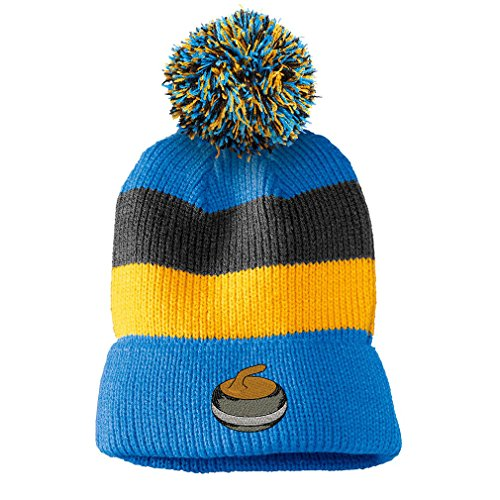 Curling Stone Embroidery Design Vintage Striped Beanie Removable Pom Pom Blue/black/yellow (Stone Colored Cap)