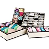 OFKP® Durable Foldable Drawer Dividers Closet Organizers Bra Underwear Storage Boxes (Set of 4)