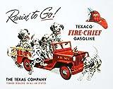 TIN SIGN NOSTALGIC ~ TEXACO DALMATIONS RARIN' TO GO * FIRE CHIEF