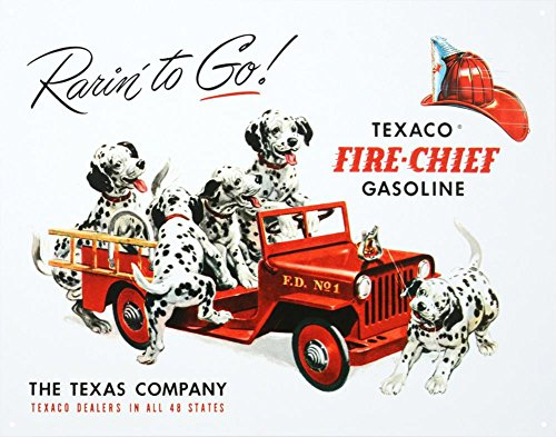 Texaco Gasoline Rarin To Go Fire Chief Tin Sign 13 x 16in (Metal Chief)