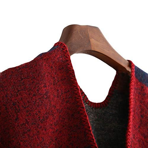 Lady Enveloppement Hiver Femme Manteau Châle Tartan À Couverture Printemps Outwear Rouge Automne Femmes Surdimensionnée Zzzz Carreaux Fashion Mode AqpaRvwxn