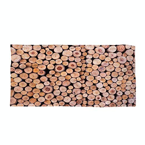 iPrint Cotton Microfiber Beach Towel,Rustic Home Decor,Mass of Wood Log Forest Tree Industry Group of Cut Lumber Circle Stack Image,Cream,for Kids, Teens, and Adults by iPrint (Image #3)