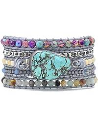Handmade Wrap Bracelet Turquoise, Jasper & Amazonite Natural Stones Leather Charm 5 Strands Boho Bracelet