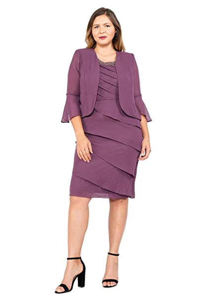 ef6d9d15781 Le Bos Short Plus Size Mother of The Bride Jacket Dress at Amazon Women s  Clothing store