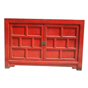 Etnicart   Meuble Bas Laque Rouge 128x83x40 Haute Qualité