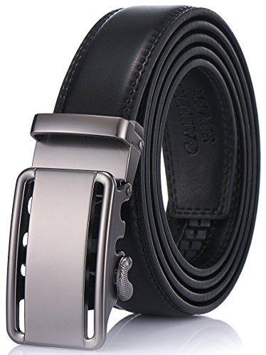 Gallery Seven Mens Leather Ratchet Belt - Adjustable Click Belt for Men - Black Style - 13 - Medium Up To Waist 44