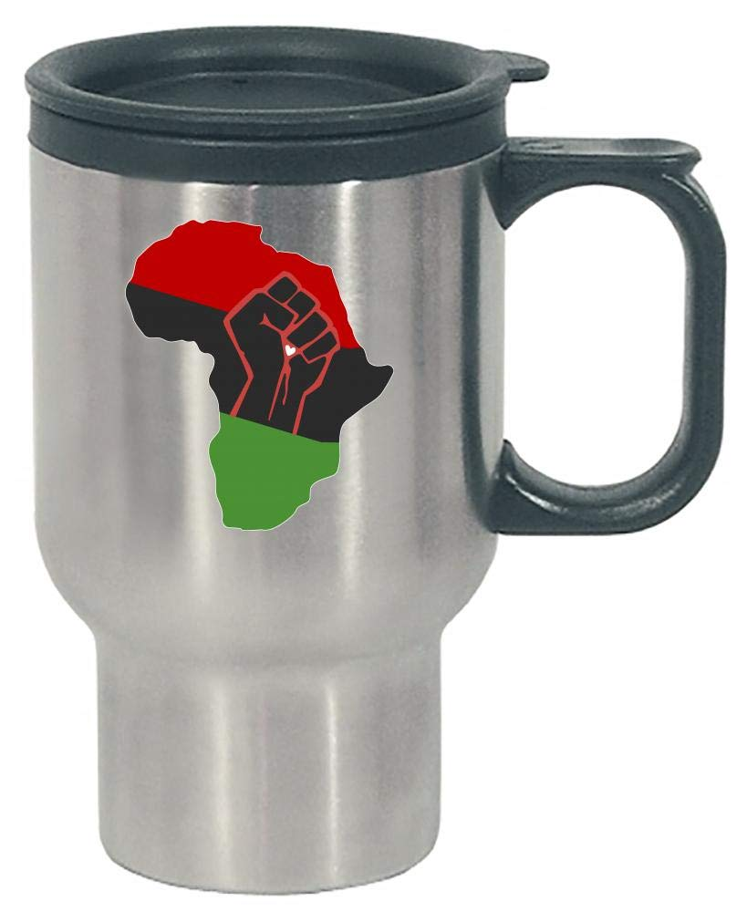 Pan African Red Black Green Africa Continent Fist Power Respect - Stainless Steel Travel Mug