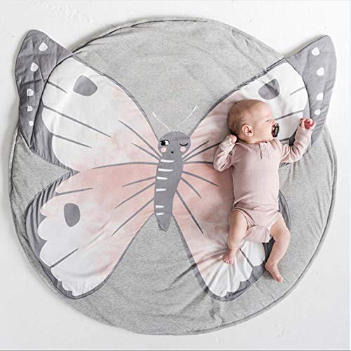 USTIDE Baby Rugs Creeping Crawling Mat Cartoon Sleeping Rugs, Children Anti-Slip Game Mat Cotton Floor Play Mat Blanket Play Environmental Carpet Kids Room Decor 37.4 x 37.4 (Butterfly) from USTIDE