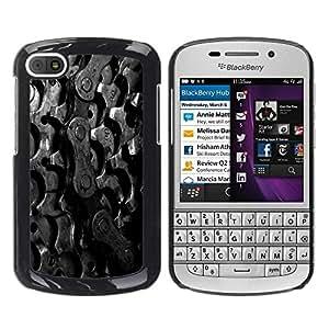 Caucho caso de Shell duro de la cubierta de accesorios de protección BY RAYDREAMMM - BlackBerry Q10 - Sprockets Bike Chain