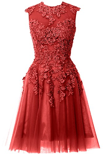 MACloth Women A Line High Neck Lace Short Prom Dress Formal Party Evening Gown Burgundy