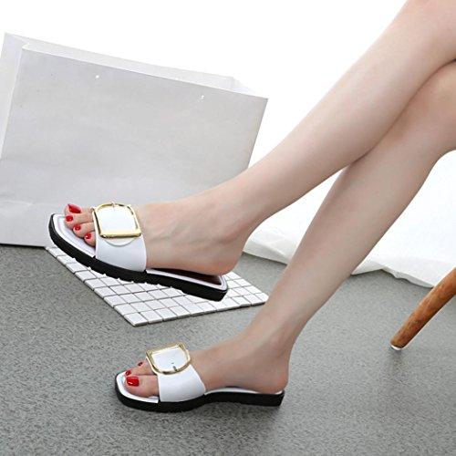 IGEMY Frauen Sommer Slipsole, Strand Plattform Pantoffel Weiß