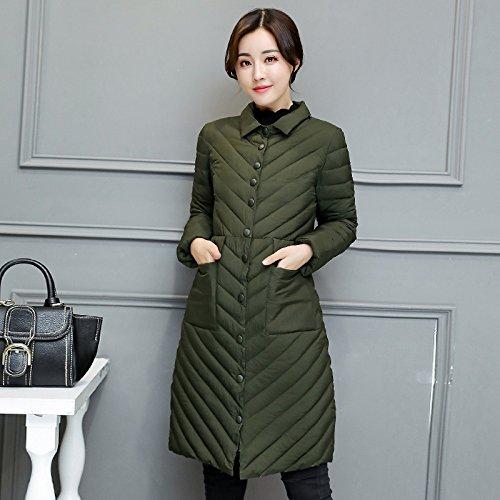 L Medium Color Pocket Military Jacket length Coat Solid Solid Green Down DYF Color Lapel ZgqCSxw