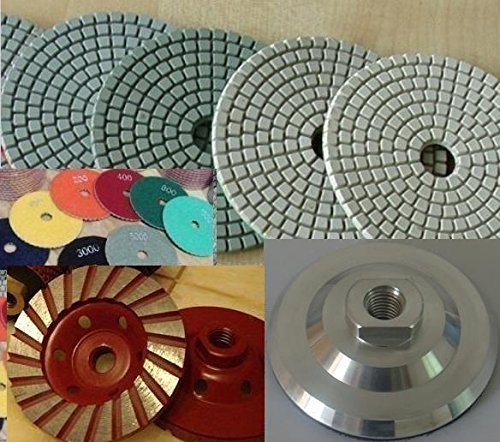 Premium Grade 4'' Diamond Polishing Pad 14 Pieces + ALUMINUM Backer + Turbo Grinding Cup Wheel For GRANITE MARBLE STONE Concrete polishing grinding abrasive tools sanding disc by Asia Pacific Construction