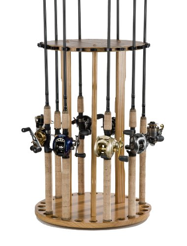 Organized Fishing Spinning Floor Rack for Fishing Rod Storage, Holds up to 24 Fishing Rods, Oak Finish, (Essentials Rack)