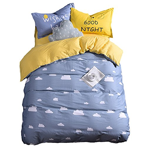 Mumgo HomeTextile Bedding Set for Adult Kids Good Night and Cloud Duvet Cover Set 100% Cotton 500 Thread Count,Twin Full/Queen King Set 3-4 Pieces (Twin Size(4Pc), Grey-Fitted Sheet) by Mumgo