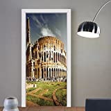 Gzhihine custom made 3d door stickers Inspirational Italy The Colosseum Decor Famous Monument and Old Kids Girls Boys Room Dorm Accessories Green Ivory and Blue For Room Decor 30x79