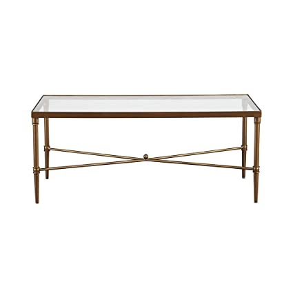 Captivating Elegance Antique Bronze 44 X 24 Coffee Cocktail Table With Glass Top
