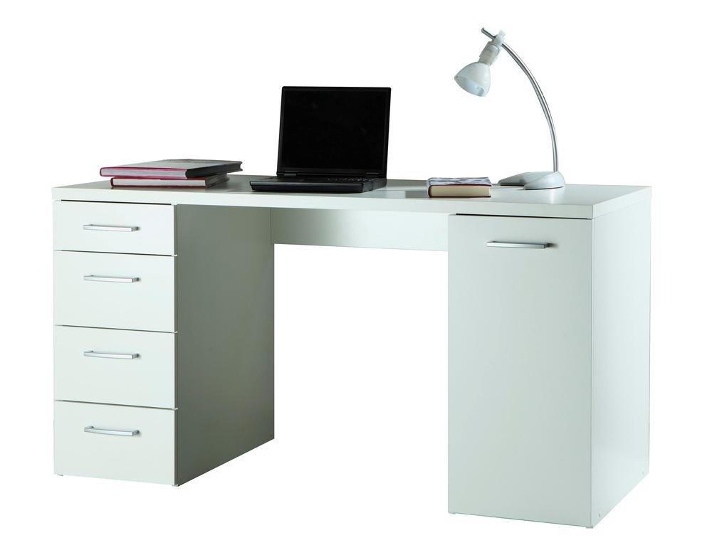 Scrivania ufficio studio anta e cassettiera laterale bianco SR0481 ...