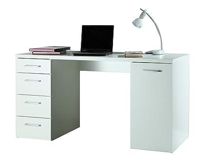 Scrivania Ufficio Immagini : Scrivania ufficio studio anta e cassettiera laterale bianco sr