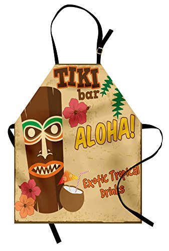 Ambesonne Tiki Bar Apron, Polynesian Statue with Tropical Drink Retro Typography and Flora Old Aged Design, Unisex Kitchen Bib Apron with Adjustable Neck for Cooking Baking Gardening, -