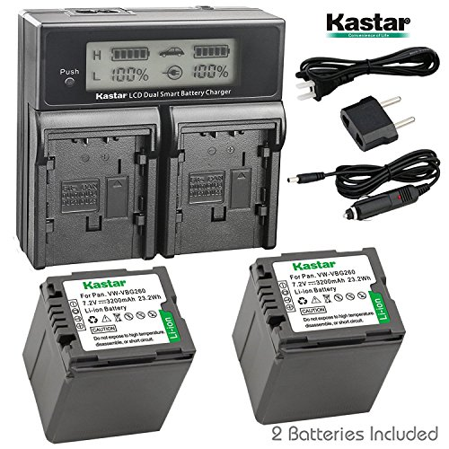 - Kastar LCD Dual Fast Charger & 2 x Battery for Panasonic VW-VBG070, VW-VBG130, VWVBG260, VBG6 and SDR-H40, SDR-H80 Series, HDC-HS700, TM700, HS300, TM300, HS250, SD20, HS20, HDC-SDT750 Camcorders etc.