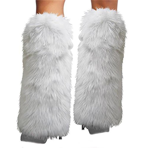 [Women's Fur Leg Warmers Sexy Furry Fuzzy Leg Warmers Soft Boot Cuffs Cover] (Furry Rave Boots)