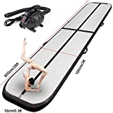FBSPORT Inflatable Gymnastics AirTrack Tumbling Mat Air Track Floor Mats with Electric Air Pump for Home Use/Training/Cheerleading/Beach/Park and Water Length 9.8foot-(300cm) (Black, 26)