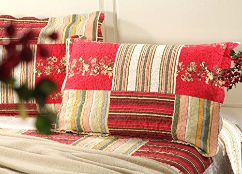 Tache Red Patchwork Quilt Bedspread - Apple Tree - 3 Piece Lightweight Reversible Coverlet Set - California King
