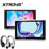 XTRONS 2 x Touch Panel Pair 10.2'' HD Digital TFT Screen 1080P Video Car Active Headrest DVD Player New Version White IR Headphones