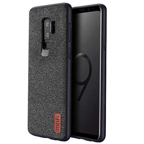 Samsung Galaxy S9 Plus Cases Covers with Full TPU Soft Edges & Art Cloth and Full-Edge Protection Shock- Absorbing & Great Grip Fully Compatibale for Samsung Galaxy S9 Plus(Black).