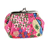 Toraway Wallet, Womens Vintage Flower Mini Wallet Coin Purse Clutch Handbag (Hot Pink)