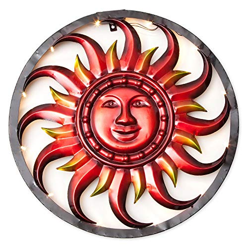 Bits and Pieces - Solar Sun Wall Art - LED Metal Wall Sculpture - Indoor and Outdoor Décor (Led Metal Art Wall)