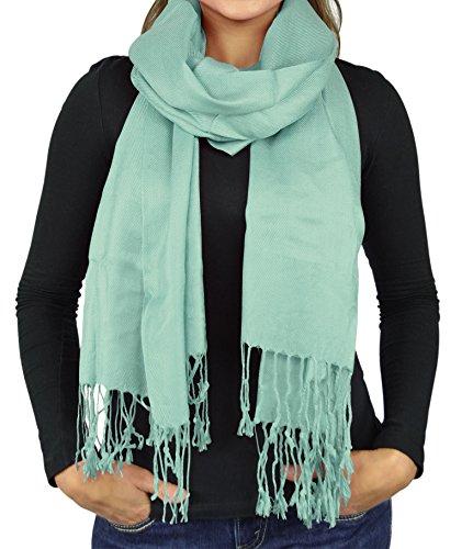 Faux Silk Pashmina Scarves For Women Stole Shawl Wraps - Mint ()