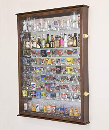 (XL Shot Glass Display Case Rack Holder Cabinet w/Mirror Backed and 11 Glass Shelves -Walnut)