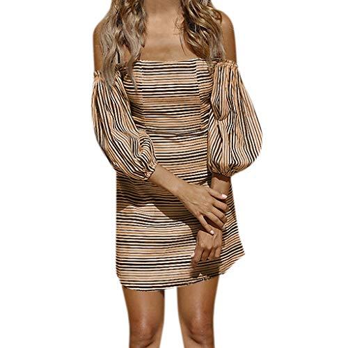 Off The Shoulder Maxi Dress Womens Stripe Lady Beach Summer Sundrss Khaki