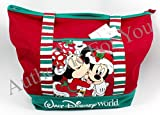 Disney Santa Mickey & Minnie Mouse Christmas Holiday Tote Bag in Red Canvas For Sale