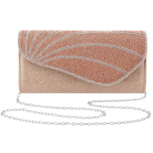 (Gabrine Womens Evening Envelop Bag Handbag Clutch Purse Shiny Mesh Fabrics Rhinestone-Studded for Wedding Prom Party(Champagne))