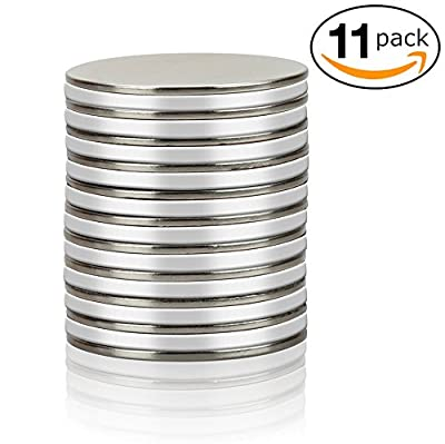 "Thin Round Disc Magnets - Strong Neodymium N45 - 1.26"" x 0.06"" - Bulk Pack of 11"