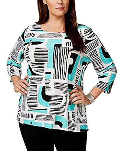 Tea Collection Pullover (Jm Collection Plus Size Textured Geometric-Print Pullover Top, (3X, TEA GEO GLOW))