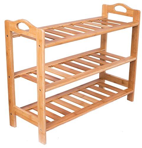 BirdRock Home 3 Tier Free Standing Shoe Rack with Handles | Bamboo (3 Shelf Bench Rack)