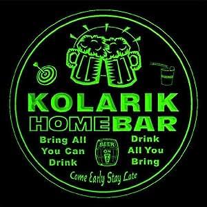 4x ccq24018-g KOLARIK Family Name Home Bar Pub Beer Club Gift 3D Engraved Coasters