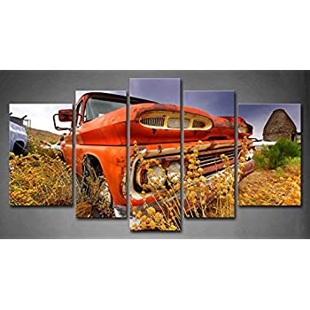 Amazon.com: 5 Panel Wall Art Old Orange Abandoned Car In Field ...