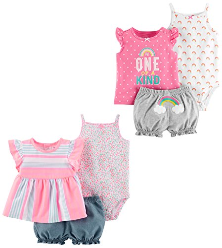 - Carter's Baby Girls' 6-Piece Bodysuit Tee and Short Set, Peach Stripe/One of A Kind, 12 Months