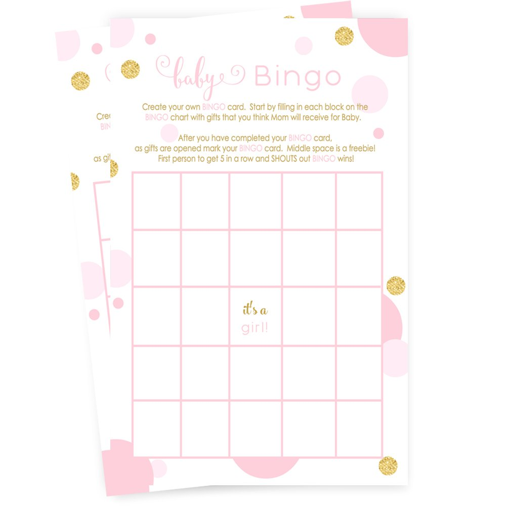 Pink and Gold Baby Shower Bingo Game Card (25 Pack)